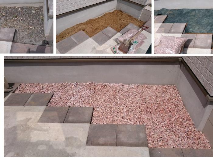 バラスト/ピンク<br />山砂を敷きならし、防草シートを敷き、化粧砂利バラスト/ピンクを敷いて完成です!<br />(約60mmの厚みで8袋使用)