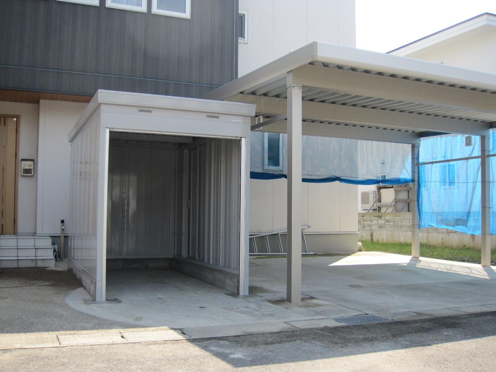 大仙市F様邸 バイクガレージ設置工事